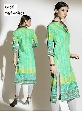 Indian Cotton Kurti Designer Women Ethnic Dress Top Tunic Pakistani MED 38 inch
