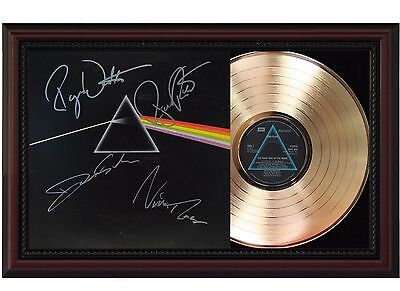 Pink Floyd Dark Side of the Moon 24k Gold LP With Autograph Reprint Wood Frame