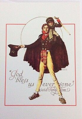 """Christmas Card by Norman Rockwell, Vintage 1993, """"God Bless Us Everyone"""""""