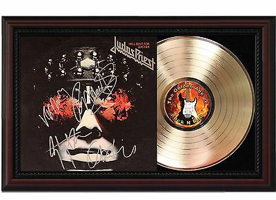 Judas Priest Hell Bent 24k Gold LP With Autograph Reprint in Cherry Wood Frame