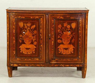 Rare original 18th C. Dutch Marquetry Inlaid Cabinet