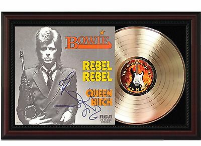 David Bowie Rebel Rebel 24k Gold LP With Autograph Reprint in Cherry Wood Frame