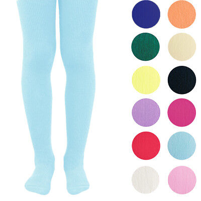 KIDS FASHION Girls RIBBED Semi-Opaque Tights 40 Denier Various Colors Year 06-14