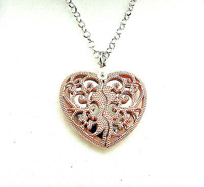 """9Ct Rose Gold Plated 925 Silver & Rhodium Plated Hidden Heart Pendant 18"""""""