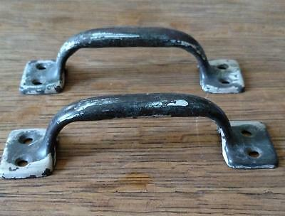 "2 Vintage Pulls Industrial 5 1/2"" Handles Salvaged Shabby Rustic Lifts  #C18"