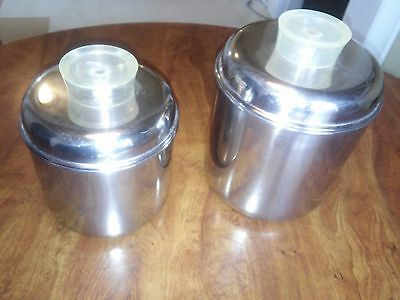 Set of 2 Vintage Revereware Stainless Steel Canisters with Tell-U-Top