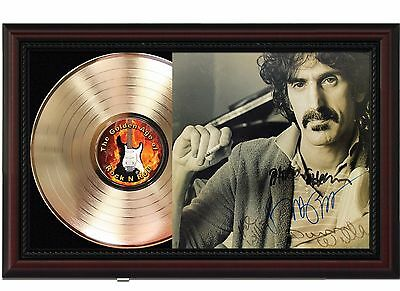 Frank Zappa 24k Gold LP Record With Reproduced Autographs In Cherry Wood Frame