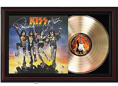 Kiss Destroyer 24k Gold LP Record With Reprint Autographs In Cherry Wood Frame