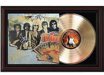 The Traveling Wilburys 24k Gold LP Record With Reprint Autographs In Wood Frame