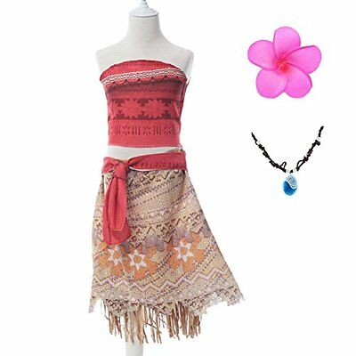 Authentic Moana Girls Adventure Outfit Costume Set Top Skirt Necklace Disney 5T