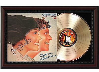 Carpenters 24k Gold LP Record With Reprinted Autographs In Cherry Wood Frame