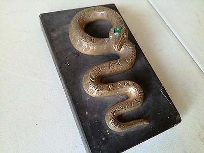 French 1900 Paris Apothecary shop sign paperweight Bronze Snake graved art deco