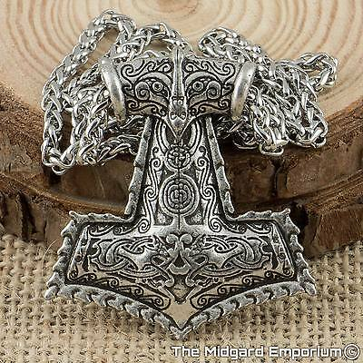 Viking Odin's Raven Thor's Hammer Silver Pendant With 3mm 50cm Keel Chain
