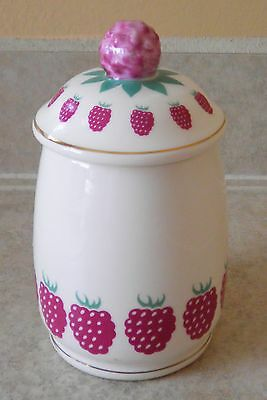 Vintage KNOTTS BERRY FARM Raspberry Jelly Jam Jar Canister made in Japan
