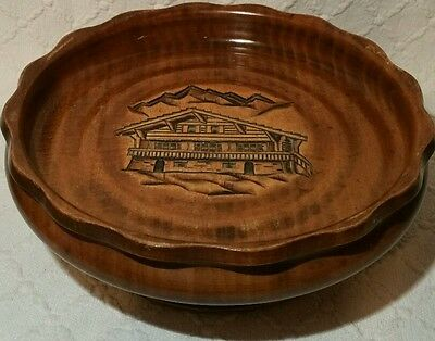 Vintage Black Forest Carved Rotating Musical Bowl With Carved Chalet & Mountain