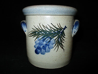"""Rowe Pottery Works Small 4"""" Crock from Pinewood Collection, 2004"""