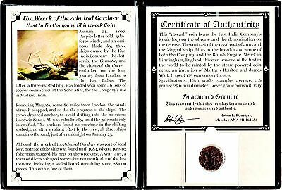 1808 Gardner Shipwreck East India Co 10 CASH Coin,Album,Certificate,Story