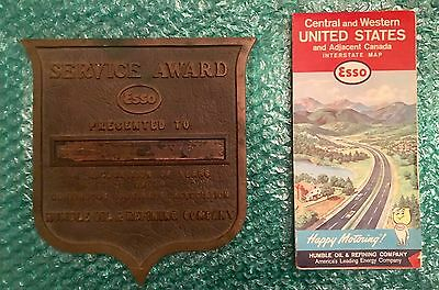 Vintage Service Award Esso Humble Oil & Refining Company Metal Plaque & Road Map