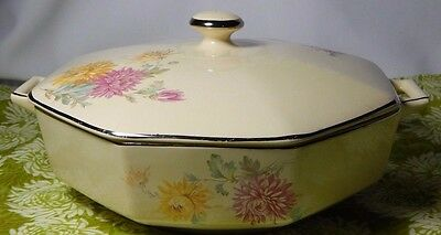 Homer Laughlin Covered Casserole Vegetable Dish Yellow Pink Flowers Octogon