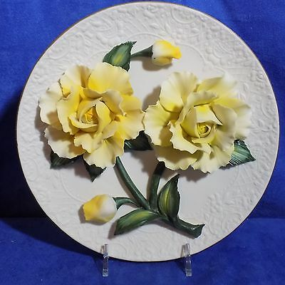 Franklin Mint Limited Edition The Yellow Roses Of Capodimonte Plate - Coa - Euc