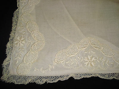 Antique Batiste BABY EMBROIDERED PILLOWCASE French Lace Trim Snap Sham 12 x 16