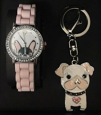 NIB Jessica Carlyle Pink Boston Terrier Dog Watch Keychain Pug French Bulldog