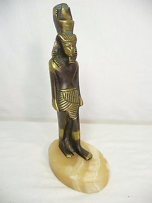 """Bronze Egyptian Statue King Tut on Marble Base 8"""" Total Height VGC"""
