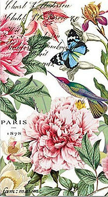 TWO (2) Peony Flowers, Paper Hostess Napkins for Decoupage and Paper Crafts