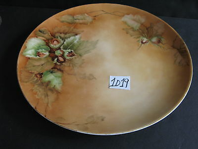 12 inch T&V Limoges Dish Hand Painted Tree Nuts, Leaves
