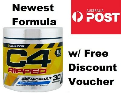 Cellucor C4 Ripped Pre Workout & Fat Loss Powder ICY BLUE RAZZ 30 Serves