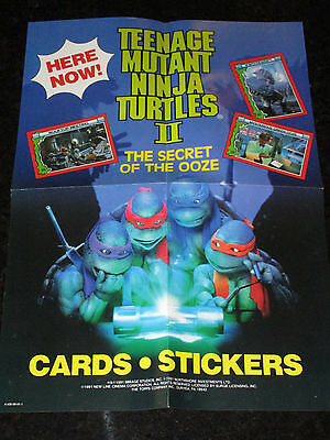 Teenage Mutant Ninja Turtles 2 Movie Trading Card Promotional Poster 1991