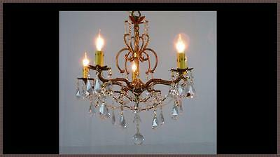 Vintage European Brass & Amazing Crystal Chandelier Gorgeous Light Fixture!