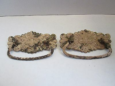 Lot of two decorative hardware pieces Brass Drawer Pulls Vintage Antique Style