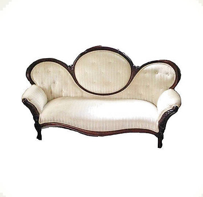 FREE SHIPPING antique victorian cameo settee/loveseat/sofa/couch in dark walnut