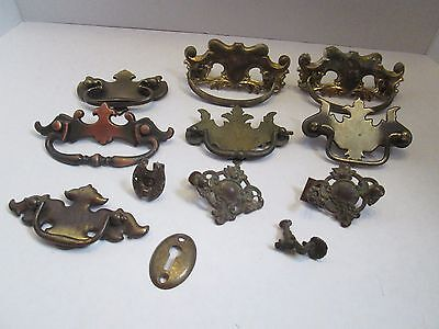 Lot of 12 vintage Random drawer pulls handles Desk Ornate Hardware Brass Parts