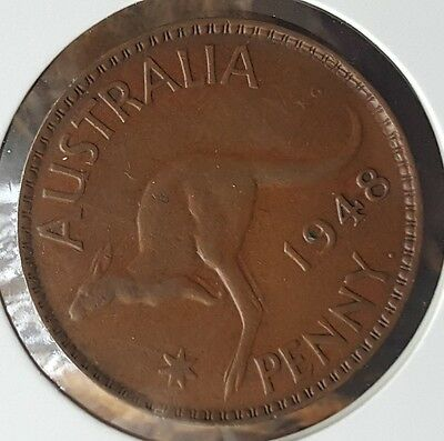 1948y. Australian Penny aUNC RARE KEY DATE VERY LOW MINTAGE #h67