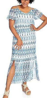 38c44dab44fe23 NEW - Kate   Mallory Printed Woven Cold Shoulder Slit Front Blouson Maxi  Dress