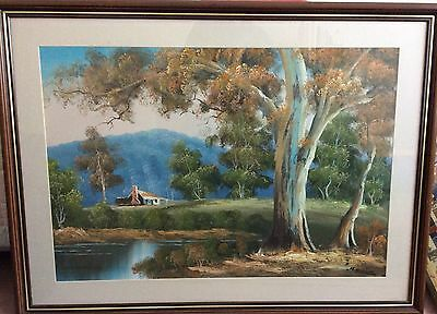 Large Original Signed Oil Painting Australian Outback Scene   By H. Burns