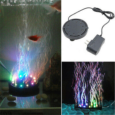 12 LED Submersible Bubble Light&Air Stone for Aquarium Fish Tank Pump Curtain BO