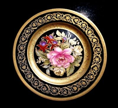 Very Beautiful Limoges Gold Encrusted Hand Painted Floral Plate