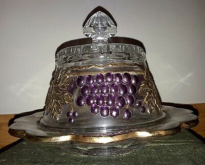 Mosser Glass Grape & Cable Butter Dish NWT Excellent Condition