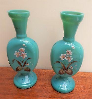 Pair of 19thC Turquoise Opaline Glass Handpainted Floral Vases Good Condition