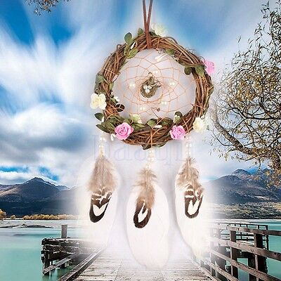 Fresh Style Dream Catcher With Flowers Wind Chimes Girls Room Hanging Pendant DA