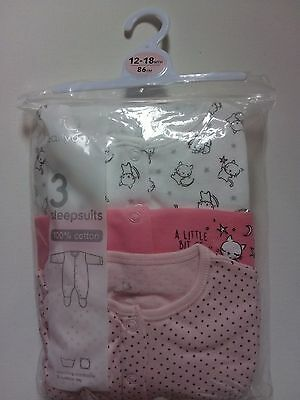 Long Sleeve sleepsuits cats 3 pack 12-18 months