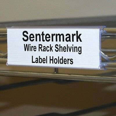 "Wire Shelf Label Holders 4"" for Metro & Nexel style shelving - Pack of 25"