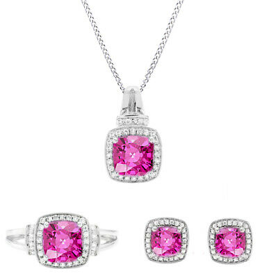 Sterling Silver Cushion Cut Pink & White Sapphire Pendant, Ring & Earrings Set