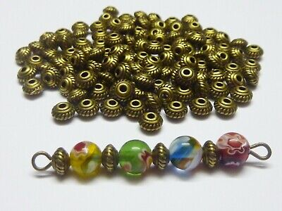 100 pce Antique Bronze Metal Saucer Spacer Beads 5mm x 3mm Jewellery Making