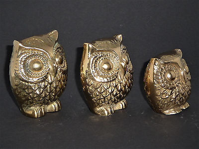 Triple Brass Owl Family Trio Messing 3x Eule different sizes - Made in Korea