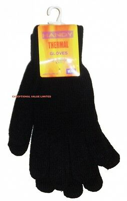 NEW 1 PAIR MENS HANDY THERMAL KNITTED WINTER GLOVES ONE SIZE MEN GLOVE BLACK. Hu