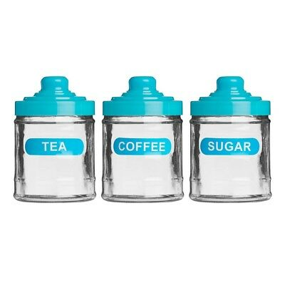 (Blue) - Tea Coffee And Sugar Set Glass With Lid 760ml For Kitchen Home (Blue)